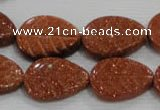 CFG816 12.5 inches 15*20mm carved leaf goldstone beads wholesale