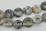 CFG904 15.5 inches 12mm carved coin donut black water jasper beads