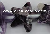 CFG911 15.5 inches 30*33mm faceted & carved star dogtooth amethyst beads