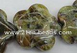 CFG935 15.5 inches 32*33mm carved flower yellow & green opal beads