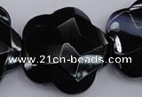 CFG957 15.5 inches 32*33mm faceted & carved flower black agate beads