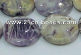 CFJ02 15.5 inches 25mm flat round natural purple flower stone beads
