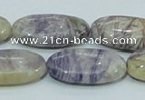 CFJ05 15.5 inches 15*30mm oval natural purple flower stone beads