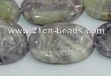 CFJ06 15.5 inches 22*30mm oval natural purple flower stone beads