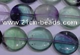 CFL1063 15 inches 14mm flat round natural fluorite gemstone beads