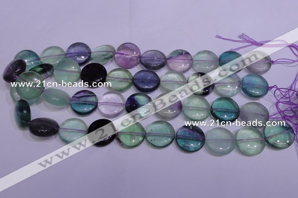 CFL1064 15 inches 16mm flat round natural fluorite gemstone beads