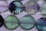 CFL1065 15 inches 18mm flat round natural fluorite gemstone beads