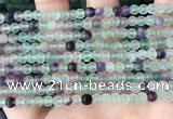 CFL1145 15.5 inches 4mm round matte fluorite beads wholesale