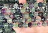CLF1157 15.5 inches 10mm faceetd round fluorite gemstone beads