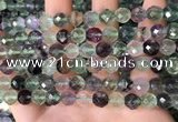 CLF1162 15.5 inches 8mm faceetd round fluorite gemstone beads