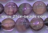 CFL1332 15.5 inches 12mm flat round purple fluorite gemstone beads