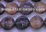 CFL1333 15.5 inches 14mm flat round purple fluorite gemstone beads