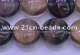 CFL1335 15.5 inches 16mm flat round purple fluorite gemstone beads