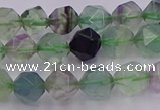 CFL1407 15.5 inches 8mm faceted nuggets fluorite gemstone beads