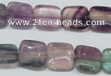 CFL174 15.5 inches 14*14mm square natural fluorite beads wholesale