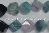 CFL311 15.5 inches 10*10mm cube natural fluorite beads