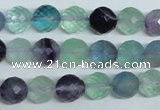 CFL325 15.5 inches 10mm faceted round natural fluorite beads