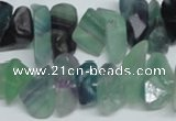 CFL334 15.5 inches 12*16mm nugget natural fluorite beads wholesale