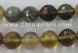 CFL455 15.5 inches 12mm faceted round rainbow fluorite beads