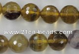CFL456 15.5 inches 14mm faceted round rainbow fluorite beads