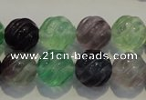 CFL458 15.5 inches 14mm carved round natural fluorite beads