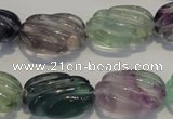 CFL495 15.5 inches 16*24mm carved oval natural fluorite beads