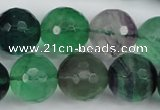 CFL57 15.5 inches 18mm faceted round AB grade natural fluorite beads