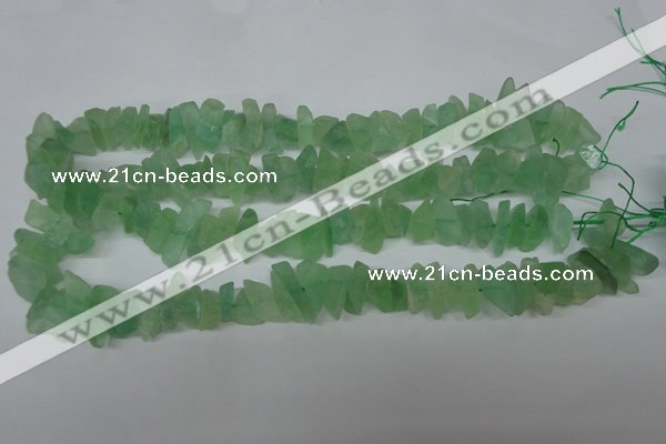 CFL656 15.5 inches 5*15mm matte green fluorite chips beads