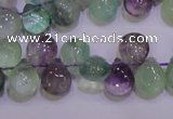 CFL703 Top-drilled 9*11mm teardrop natural fluorite beads wholesale