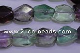 CFL726 15.5 inches 11*15mm faceted nuggets natural fluorite beads