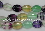 CFL775 15.5 inches 10*14mm oval rainbow fluorite gemstone beads