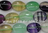 CFL778 15.5 inches 15*20mm oval rainbow fluorite gemstone beads