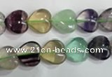 CFL789 15.5 inches 12mm heart rainbow fluorite gemstone beads