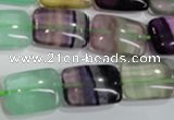 CFL795 15.5 inches 15*20mm rectangle rainbow fluorite gemstone beads