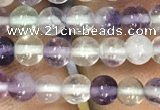 CFL910 15.5 inches 4mm round purple fluorite beads wholesale