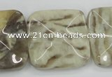 CFS208 30*30mm wavy square natural feldspar gemstone beads