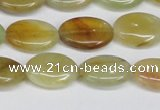 CFW126 15.5 inches 12*16mm flat oval flower jade gemstone beads