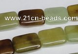 CFW148 15.5 inches 10*14mm rectangle flower jade gemstone beads