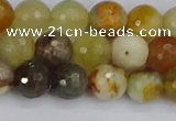 CFW212 15.5 inches 8mm faceted round flower jade beads