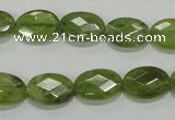 CGA101 15.5 inches 10*14mm faceted oval natural green garnet beads