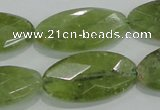 CGA104 15.5 inches 15*30mm faceted oval natural green garnet beads