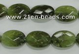 CGA108 15.5 inches 12*16mm faceted oval natural green garnet beads