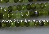 CGA156 15.5 inches 2.5*4mm faceted rondelle green garnet beads