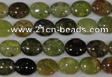 CGA220 15.5 inches 8*10mm oval natural green garnet beads