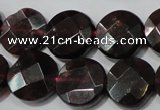 CGA477 15.5 inches 10mm faceted coin natural red garnet beads