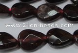CGA484 15.5 inches 8*10mm faceted flat teardrop natural red garnet beads