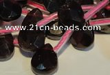 CGA486 Top-drilled 7*9mm faceted briolette natural red garnet beads