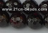 CGA666 15.5 inches 14mm faceted round red garnet beads wholesale