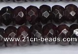CGA680 15.5 inches 6*11mm faceted rondelle red garnet beads