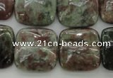 CGA81 15.5 inches 20*20mm square red green garnet gemstone beads